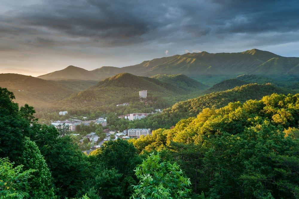 Stunning photo of Gatlinburg and the mountains at sunrise