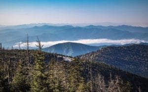 view of the mountains from Clingmans Dome