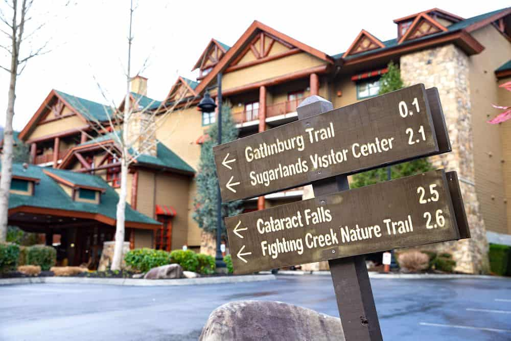 Hiking trail signs outside of Bearskin Lodge hotel in Gatlinburg