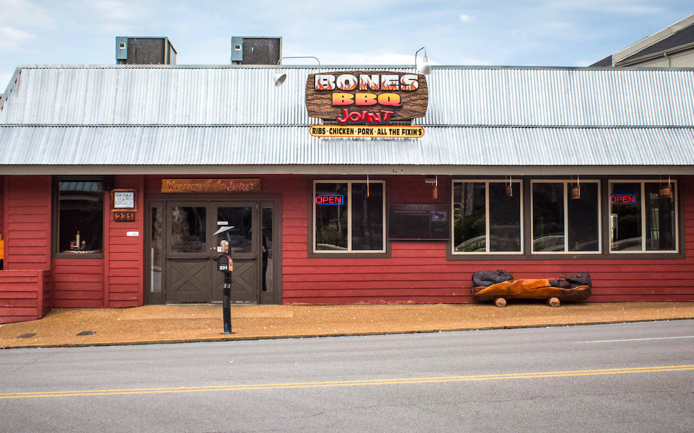 Outside of Bones BBQ restaurant in Gatlinburg